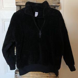 LOLË Black Sherpa 1/4 Pullover Sweater
